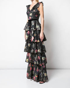 Load image into Gallery viewer, Metallic Printed Tiered Gown