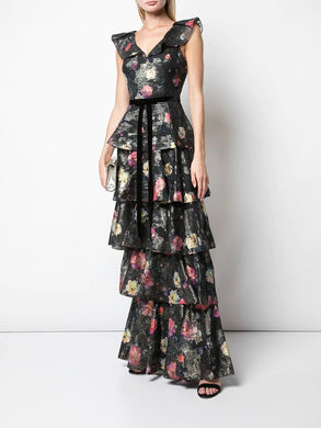 Metallic Printed Tiered Gown