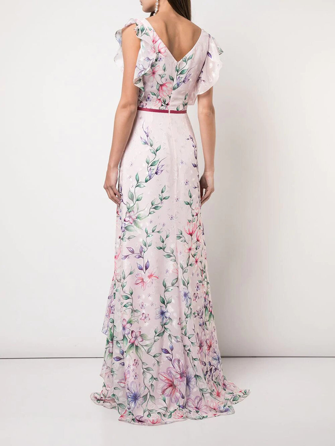 Printed Burnout Chiffon Gown