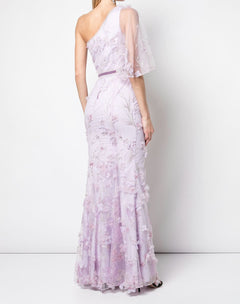 Load image into Gallery viewer, One shoulder flutter sleeve gown