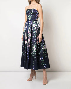 Load image into Gallery viewer, Strapless Printed Mikado Dress