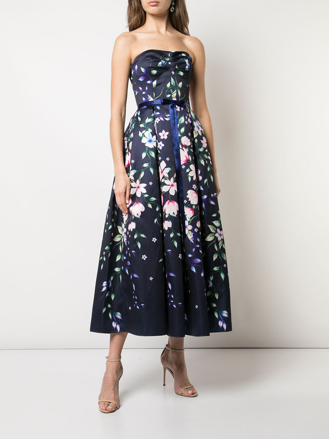 Strapless Mikado Piqué Dress