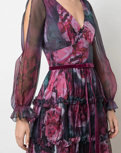 Load image into Gallery viewer, Floral Printed Chiffon Cocktail