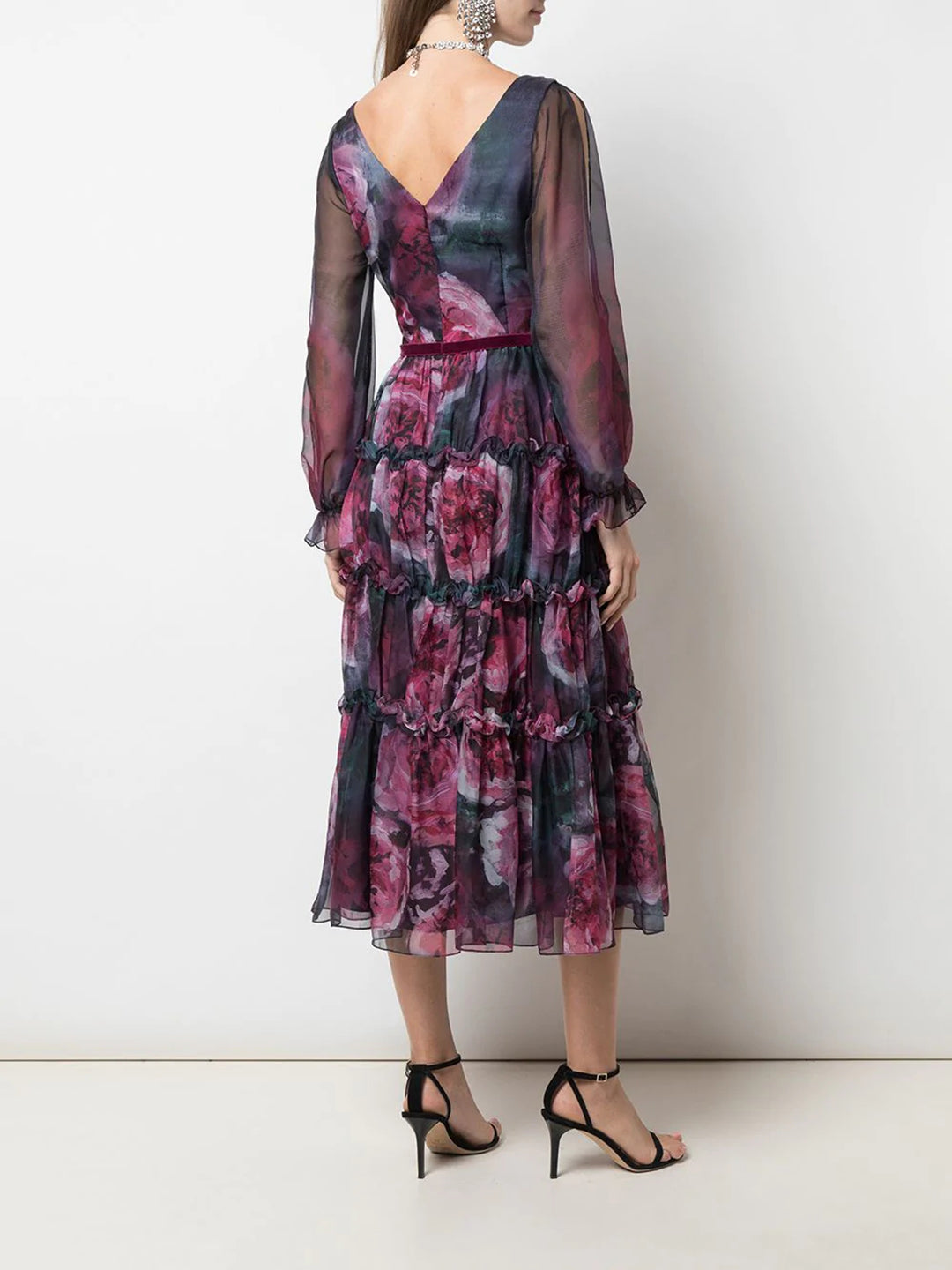 Floral Printed Chiffon Cocktail