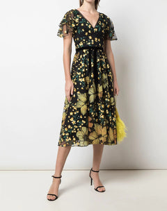 Load image into Gallery viewer, V-Neck Embroidered Floral Cocktail Dress