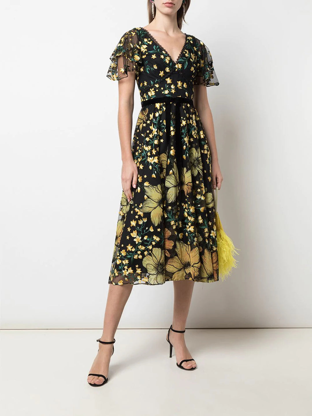 V-Neck Embroidered Floral Cocktail Dress