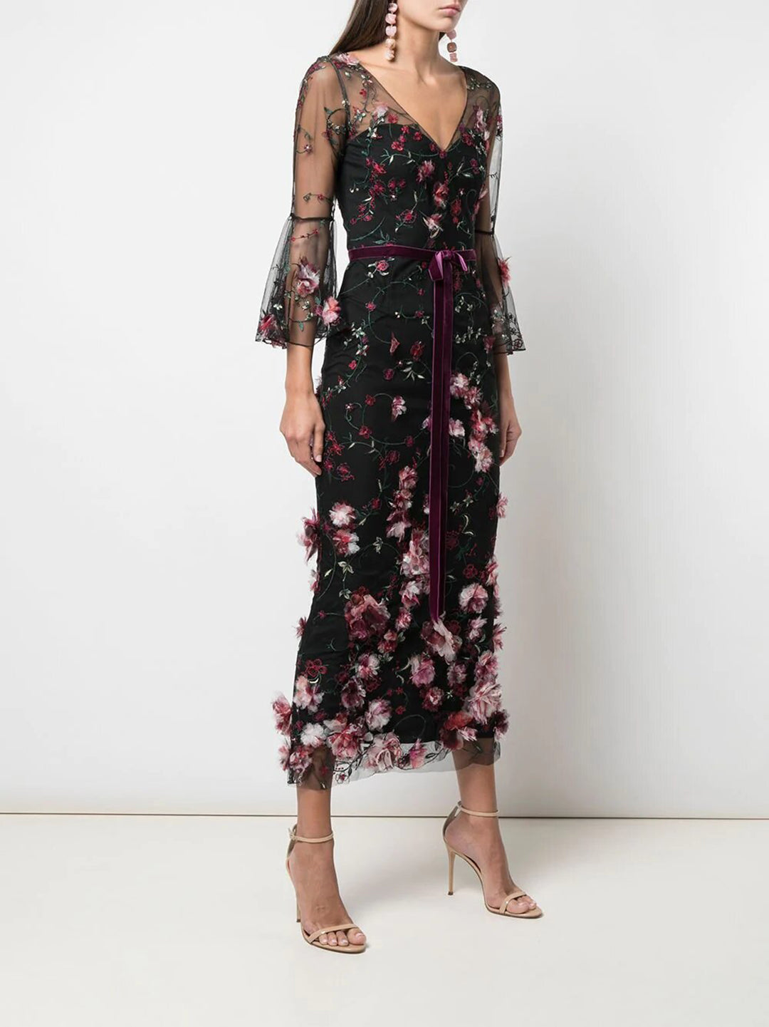 3/4 Sleeve 3D Floral Tulip Cocktail Dress