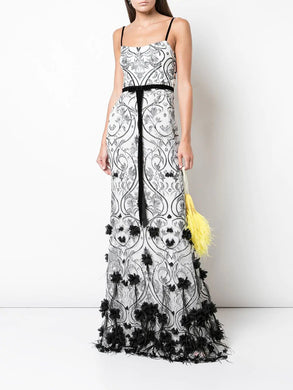 3D Floral Feather Gown