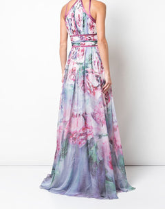 Load image into Gallery viewer, Floral Print Chiffon Gown