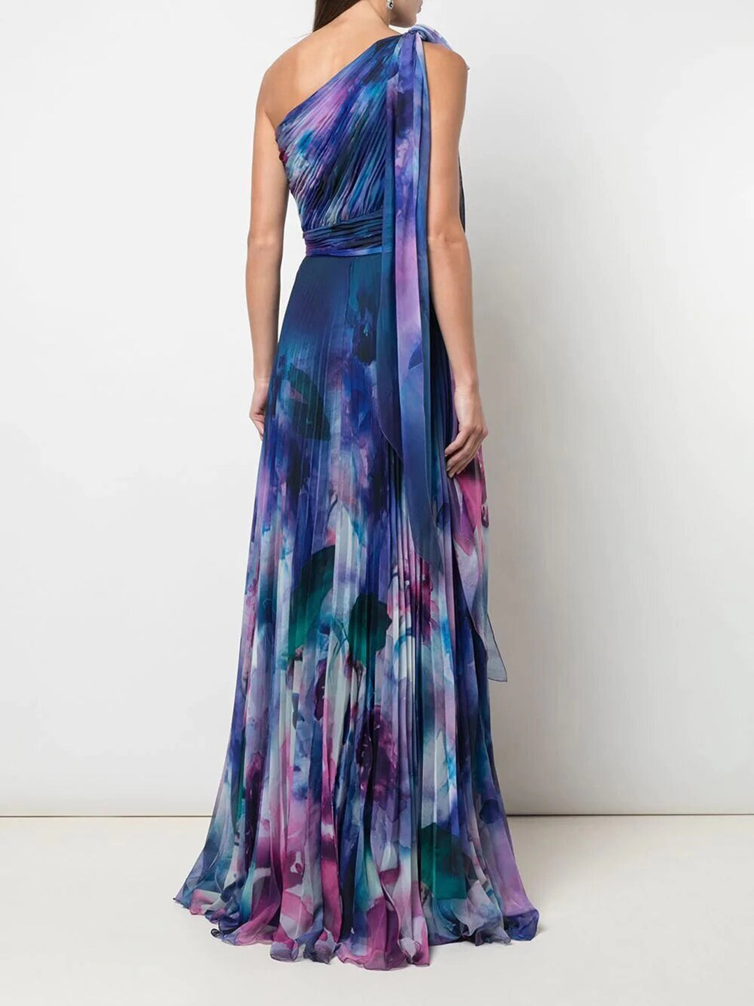One Shoulder Draped Floral Print Chiffon Gown