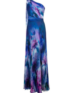 Load image into Gallery viewer, One Shoulder Draped Floral Print Chiffon Gown
