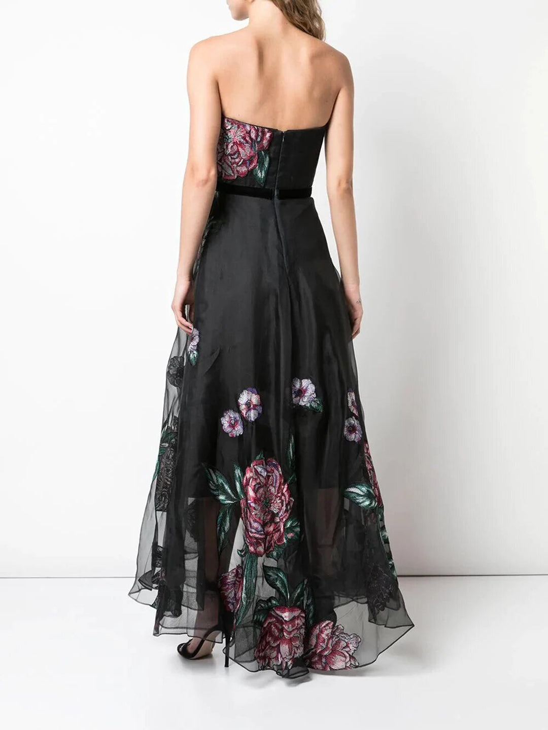 Strapless Draped Corset Embellished Silk Organza Gown
