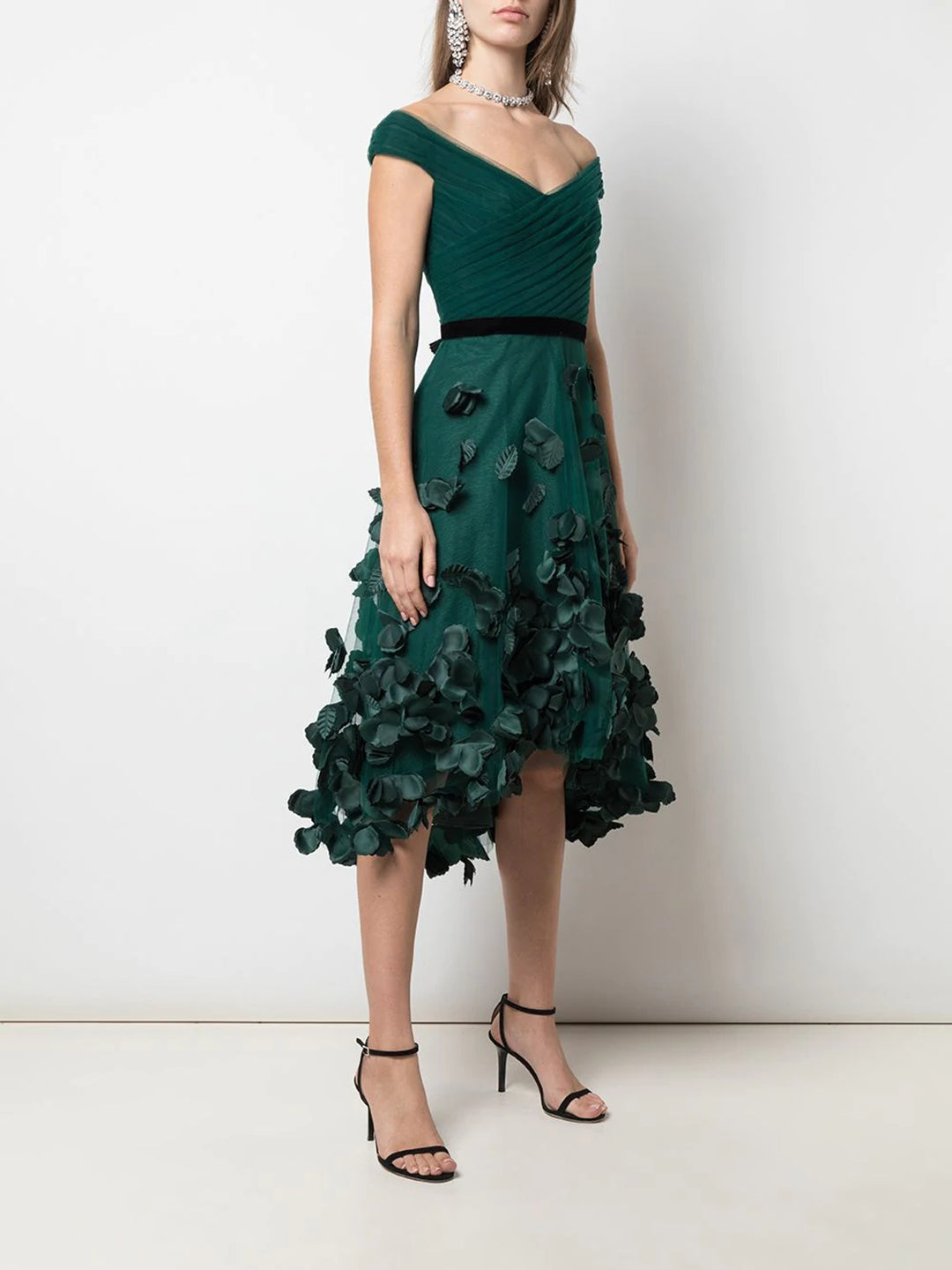 Draped 3D Floral Hi Lo Cocktail Dress