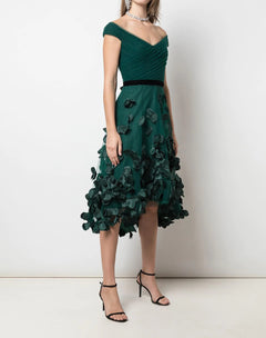 Load image into Gallery viewer, Draped 3D Floral Hi Lo Cocktail Dress