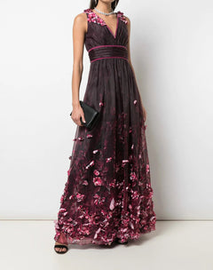 Load image into Gallery viewer, Halter V-Neck 3D Floral Print Organza Gown
