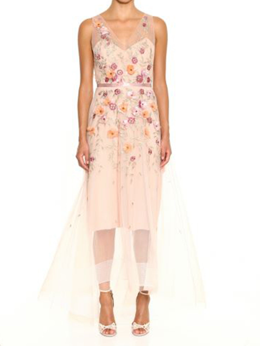 3D Floral Embroidered Hi-Low Gown