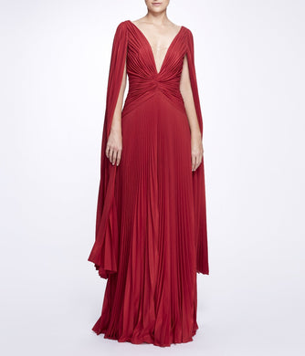 Cape Sleeve Pleated Lame Gown