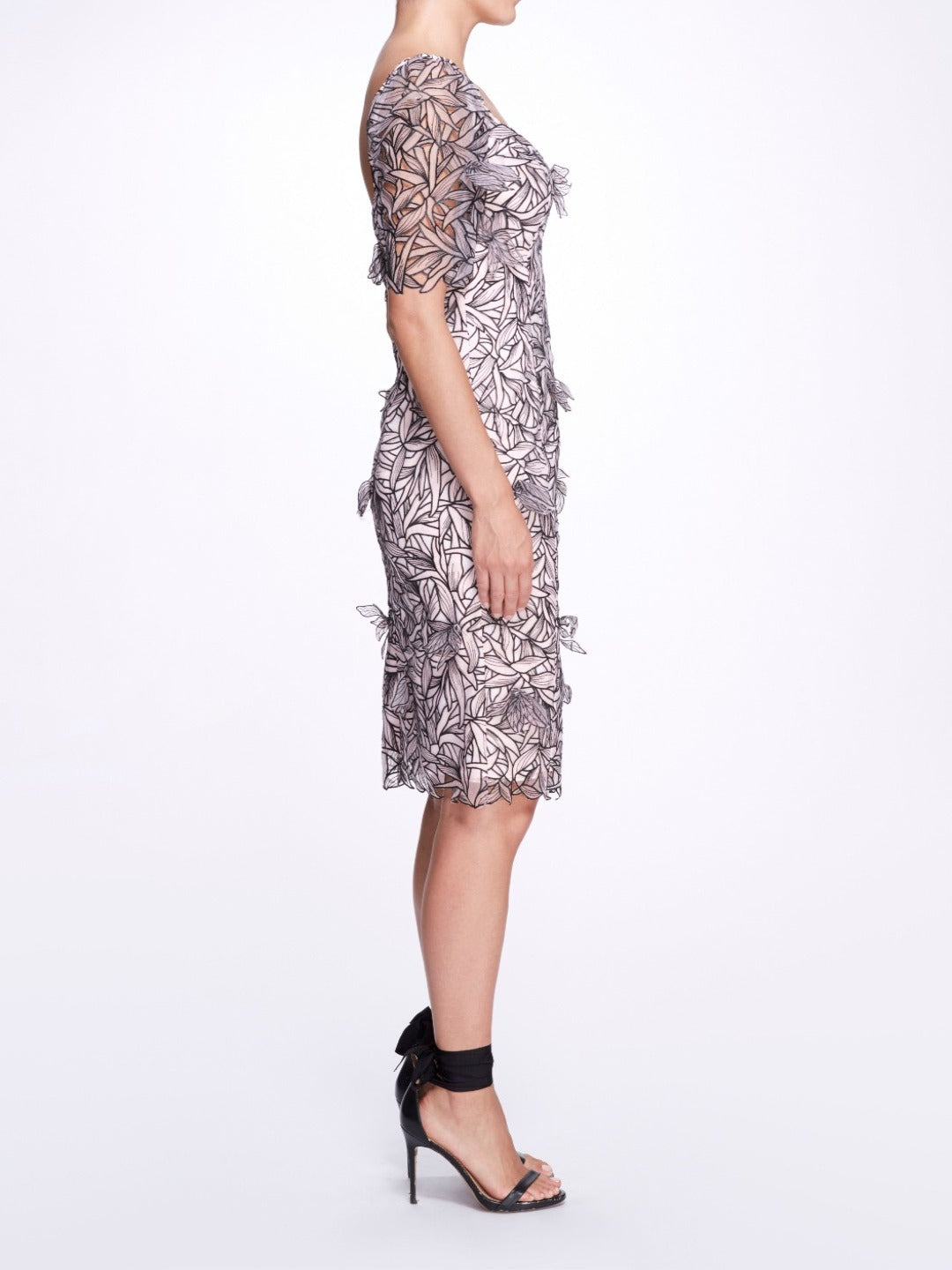 Embroidered Organza Cocktail Dress