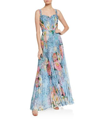 Floral Pleated Tulle Gown