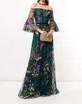 Load image into Gallery viewer, Embroidered Off-Shoulder V-Neck Gown