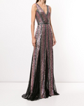 Load image into Gallery viewer, Striped Sequin Sleeveless Gown
