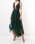 Load image into Gallery viewer, Sleeveless V-Neck High-Low Beaded Dress