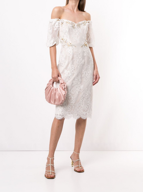 Off-Shoulder Puff Sleeve Cocktail Dress