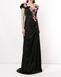 Load image into Gallery viewer, Floral Appliqué Satin Evening Gown