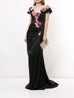 Floral Appliqué Satin Evening Gown