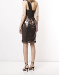 Load image into Gallery viewer, One-Shoulder Draped Lamé Cocktail Dress