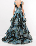 Load image into Gallery viewer, Printed V-Neckline Tiered Ballgown