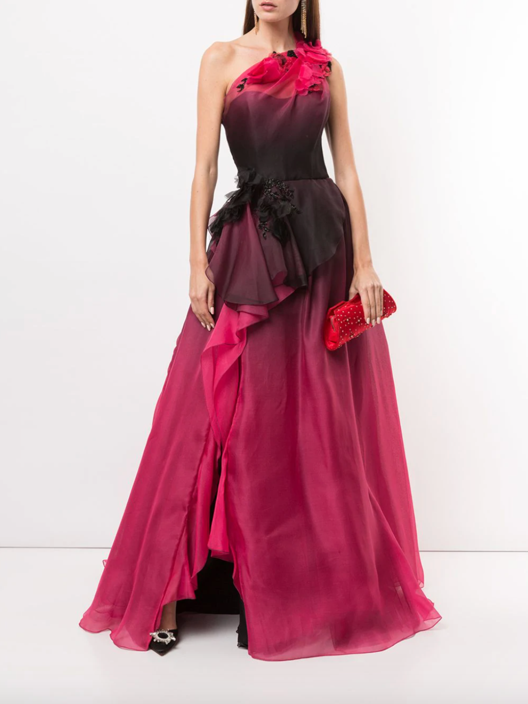 One-Shoulder Ombré Ballgown