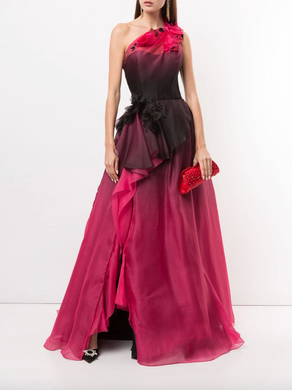 One-Shoulder Ombre Ballgown