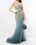 Load image into Gallery viewer, One-Shoulder Ombré Grecian Gown