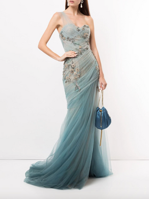 One-Shoulder Ombre Grecian Gown