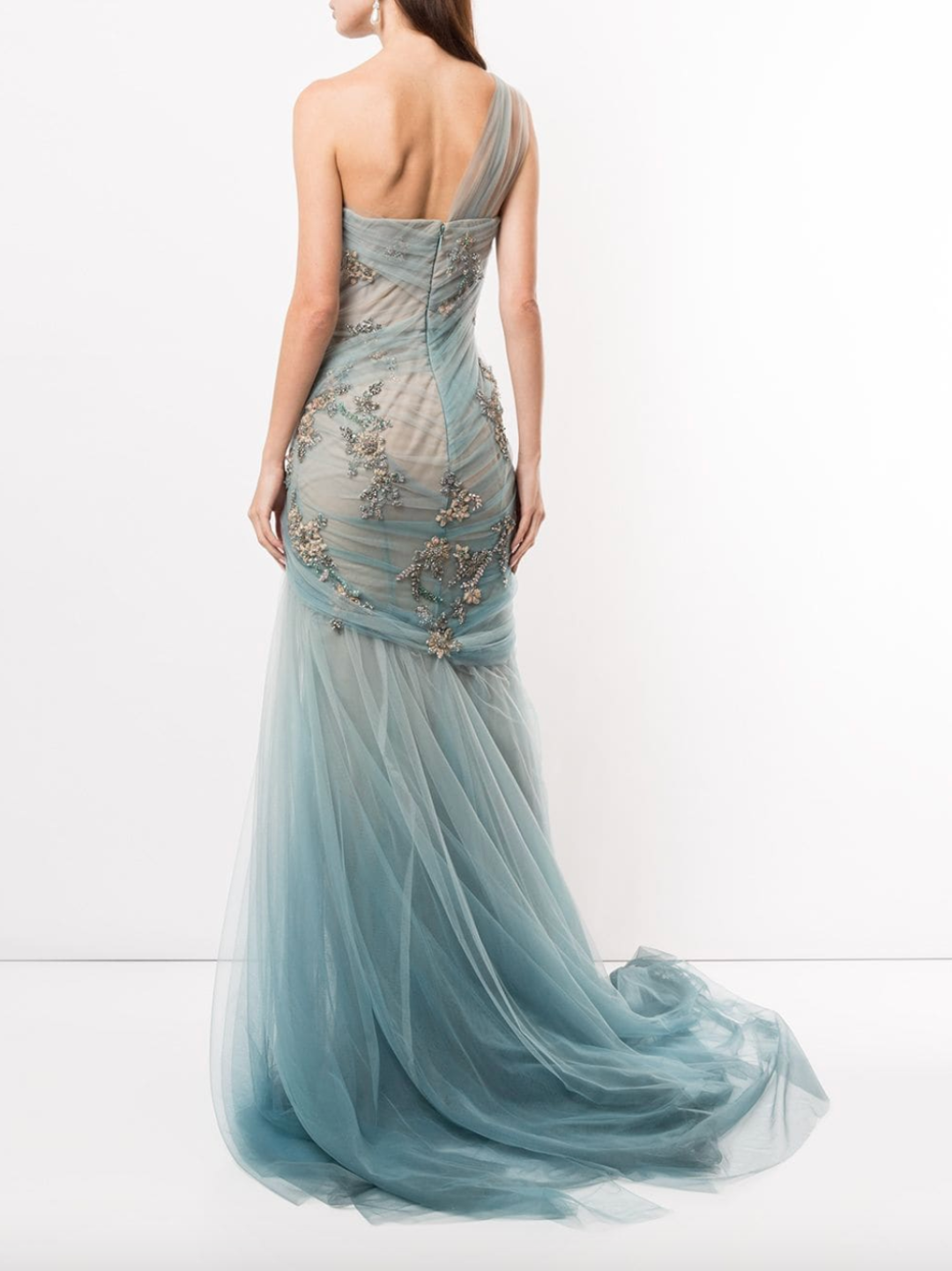 One-Shoulder Ombré Grecian Gown