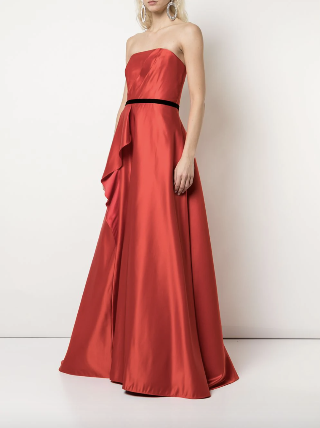 Strapless Satin Draped Silk Ballgown