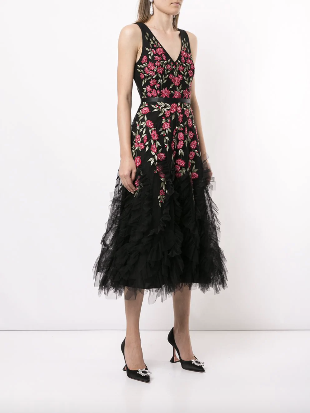 Beaded Embroidered Tea-Length Tulle Dress