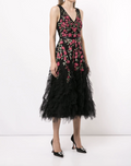 Load image into Gallery viewer, Beaded Embroidered Tea-Length Tulle Dress