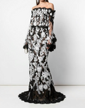 Load image into Gallery viewer, Corded Lace Off-the-Shoulder Gown