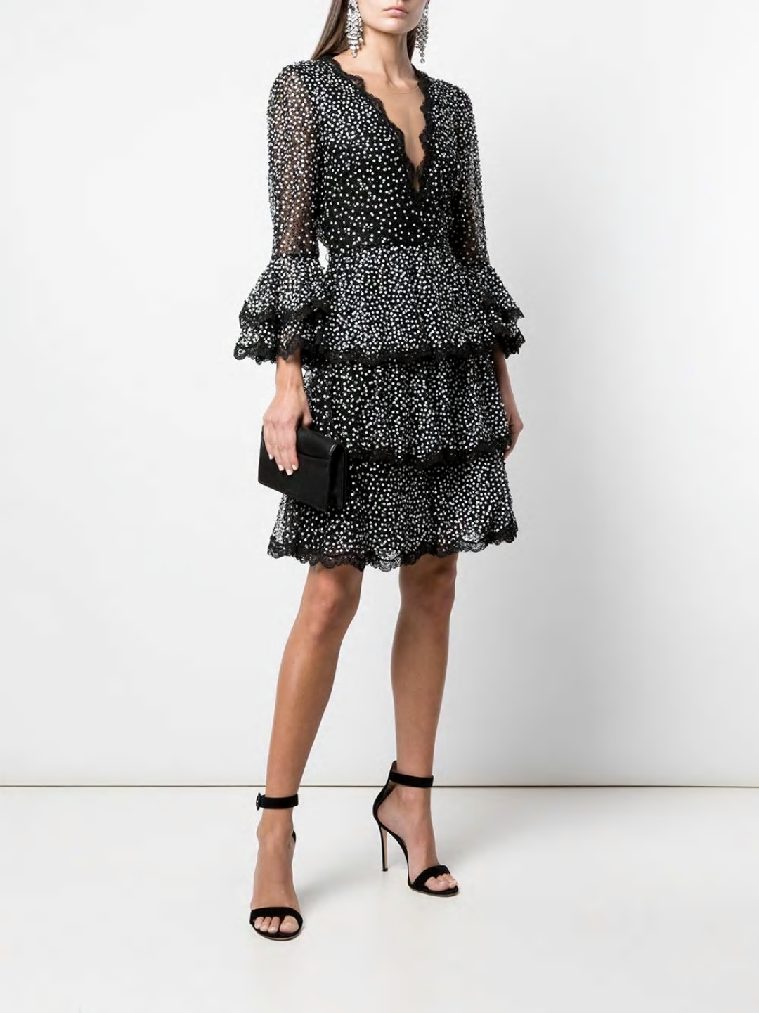 Bell Sleeve & Tiered Skirt Cocktail Dress