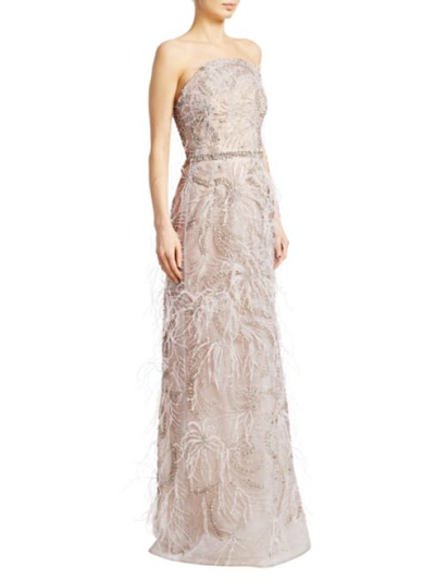 Strapless Embellished Column Gown