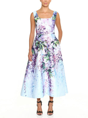 Sleeveless Floral Wisteria Print Satin Tea-Length