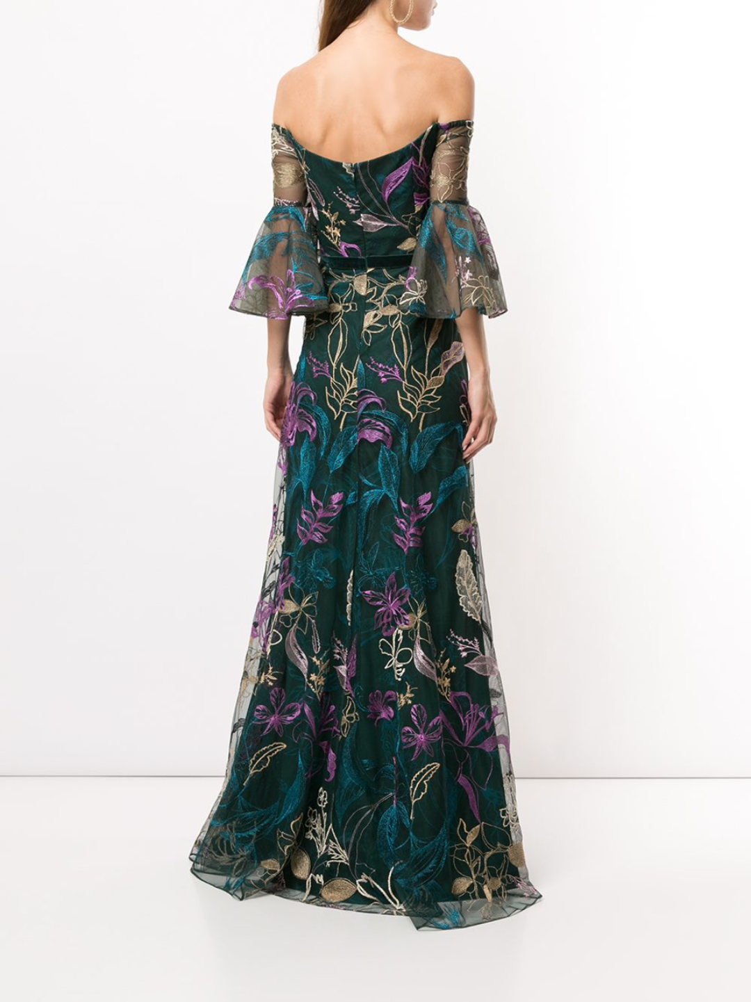 Embroidered Off-Shoulder V-Neck Gown