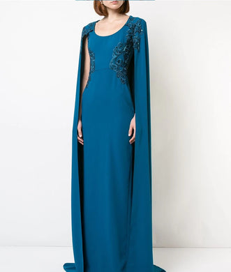 Crepe Caped Gown with Embroidery
