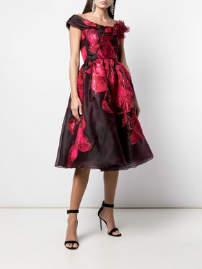 Jacquard Off-the-Shoulder Cocktail Dress