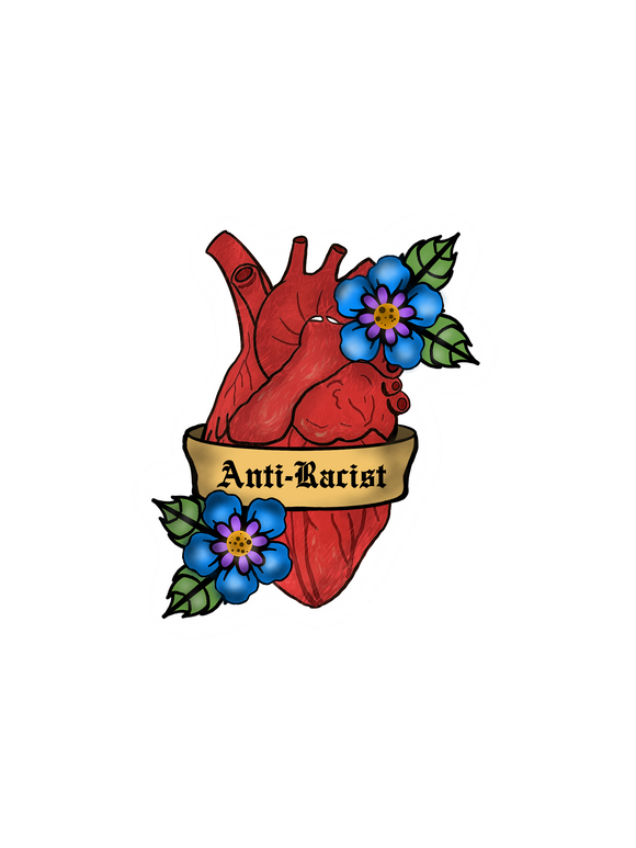 Anti-Racist Heart Sticker
