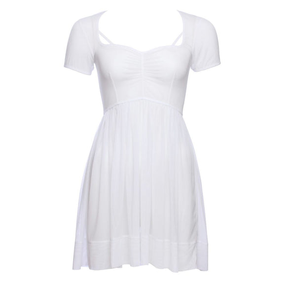 White Mesh Gathered Babydoll Dress