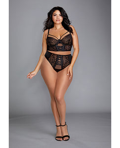 Galloon Lace Bustier & Matching Lace Up Thong