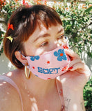 'Soft' hand-printed reversible face mask by Reesabobeesa